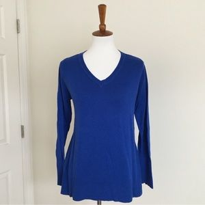 Royal blue flared hem sweater from The Limited